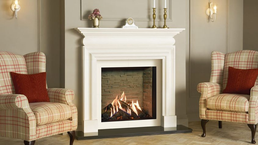Gazco Reflex 75t Edge with Ledgestone Effect Lining in Cavendsh Bolection Limestone Mantel with Matching Slip Set