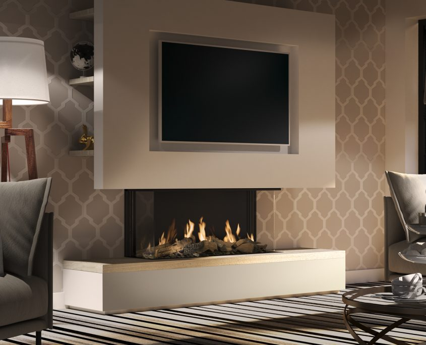 Dru Global 100 3-Sided Balanced Flue Gas Fire