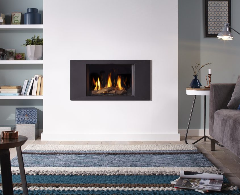 Dru Global 55 Conventional Flue Gas Fire with Ceraglass and Panoramic frame