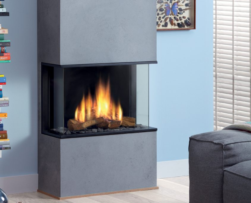 Dru Global 60 3-Sided Balanced Flue Gas Fire with Ceraglass