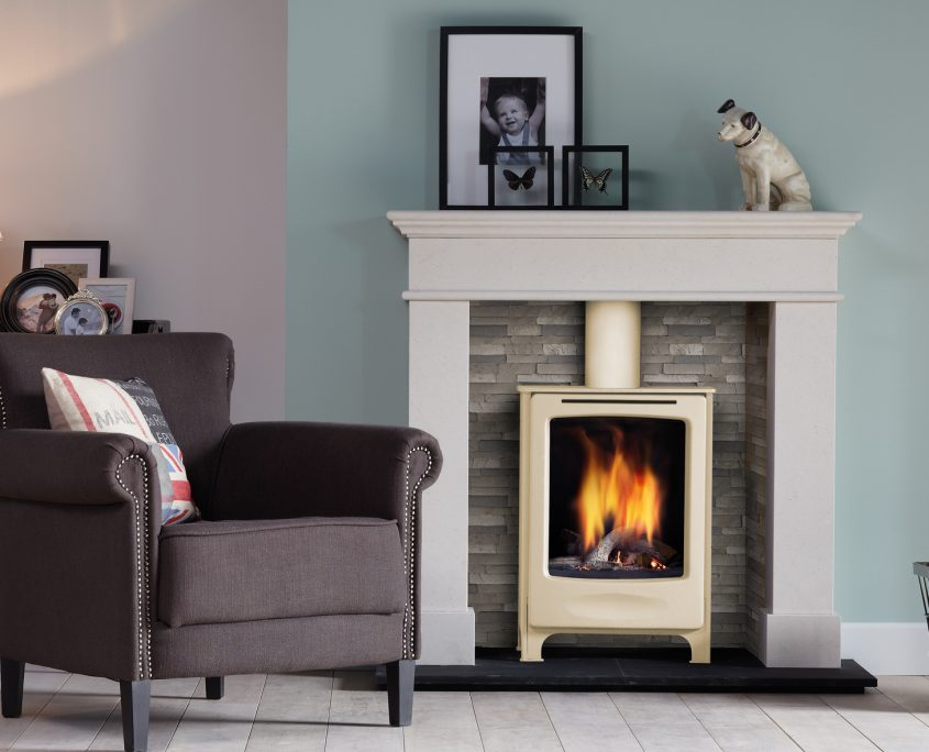 Dru Global Beau Conventional Flue Freestanding Gas Stove in White