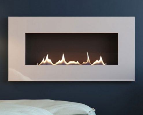 Ebios oxford 700 Bio-Ethanol Fire with white gloss frame